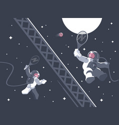 astronauts playing tennis in outer space vector image vector image