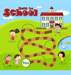 boardgame template with children at school vector image
