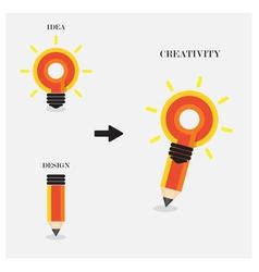 Creative pencil and light bulb design vector image