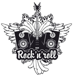electric guitar wings speakers and rock and roll vector image