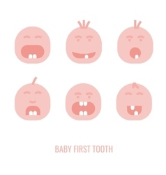 First tooth icons vector image vector image