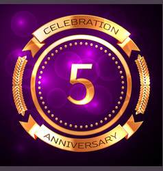 five years anniversary celebration with golden vector image