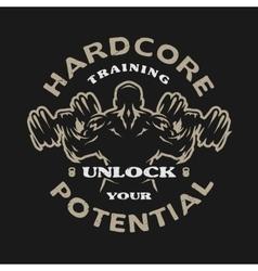 Hardcore training emblem vector image