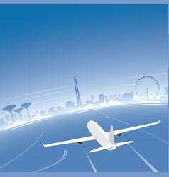 singapore skyline flight destination vector image vector image