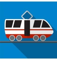 Tram flat icon vector image vector image