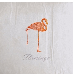 vintage of a pink flamingo on the old wrinkled vector image vector image