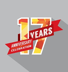 17th Years Anniversary Celebration Design vector image