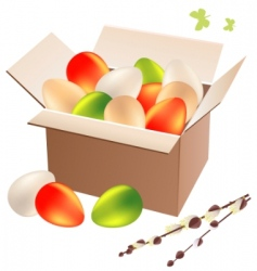 box full of Easter eggs vector image vector image