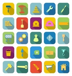 Construction color icons with long shadow vector image