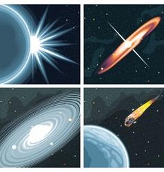 Digital cosmos icons set with galaxy vector image vector image