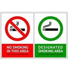 No smoking and Smoking area labels - Set 13 vector image vector image