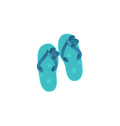 pair of blue beach women sleepers decorated with vector image vector image