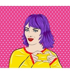 Pop art surprised woman face with mouth Comic vector image
