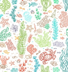 Seamless marine pattern vector image vector image