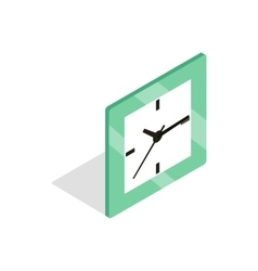 Square clock icon isometric 3d style vector image