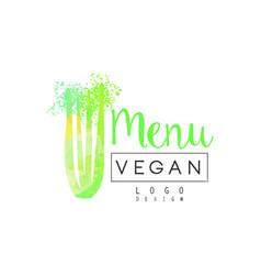 vegan menu logo design label for vegetarian vector image vector image
