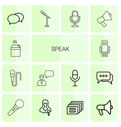 14 speak icons vector image