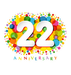 22 years anniversary paper colorful logo vector