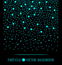Abstract cyan falling light cyan particles black vector