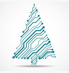 Abstract technology colorful christmas tree vector
