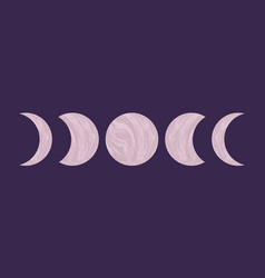 Abstract textured moon phases mid century modern vector