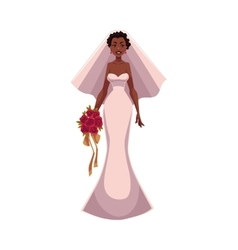 African American bride fiancee just married vector
