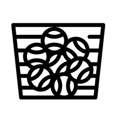 basket with balls icon outline vector image