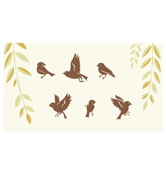 Birds silhouette set vector image