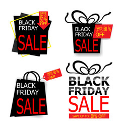 black friday sale price tag and label vector image