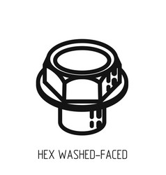 Bolt head hex full bearing outline icon and vector