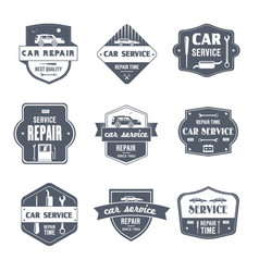 Car repair - vintage set of logos vector