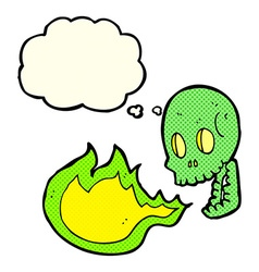 Cartoon fire breathing skull with thought bubble vector