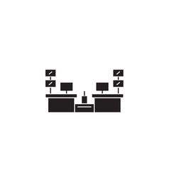 cashier desks black concept icon cashier vector image