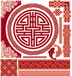 Chinese pattern design elements - border corners vector