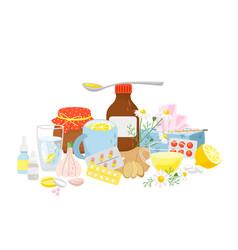 cold medicine pills syrup tea with lemon garlic vector image