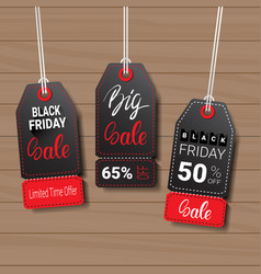collection of black friday tags on wooden textured vector image