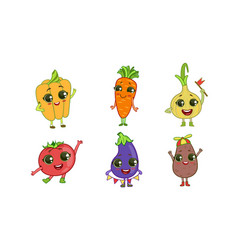 colorful cute kawaii vegetables set vegetarian vector image