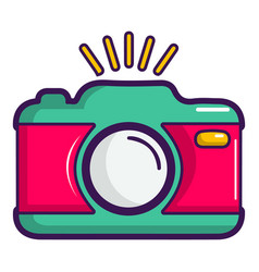 colorful photo camera icon cartoon style vector image