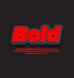 Cool 3d red black text effect or font effect vector