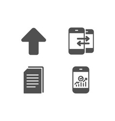 Copy files phone communication and upload icons vector
