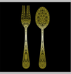 Cutlery icon golden cutlery mandalas vector