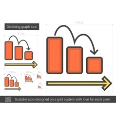 Declining graph line icon vector