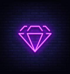 diamond neon sign neon icon light symbol web vector image