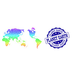 dotted rainbow map of earth and grunge stamp seal vector image