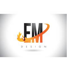 em e m letter logo with fire flames design and vector image