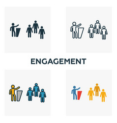engagement icon set four elements in diferent vector image