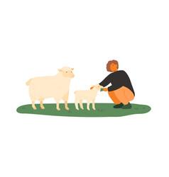 farmer female feeding lamb and sheep green vector image