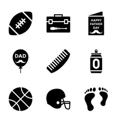 fathers day solid icons set vector image