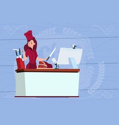 Female chef cooking in front of web camera on vector
