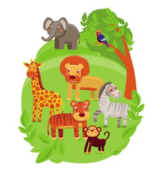 funny cartoon animals in green jungle vector image